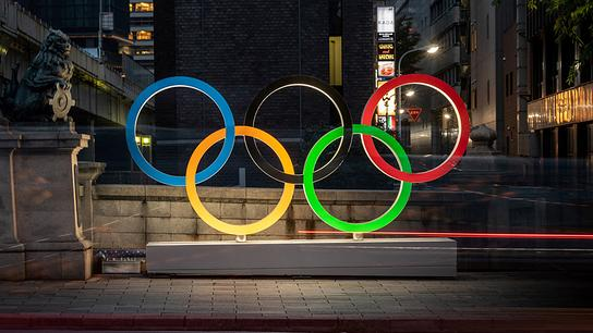 The Olympic Rings are displayed in Tokyo's Nihonbashi district on July 10, 2021.